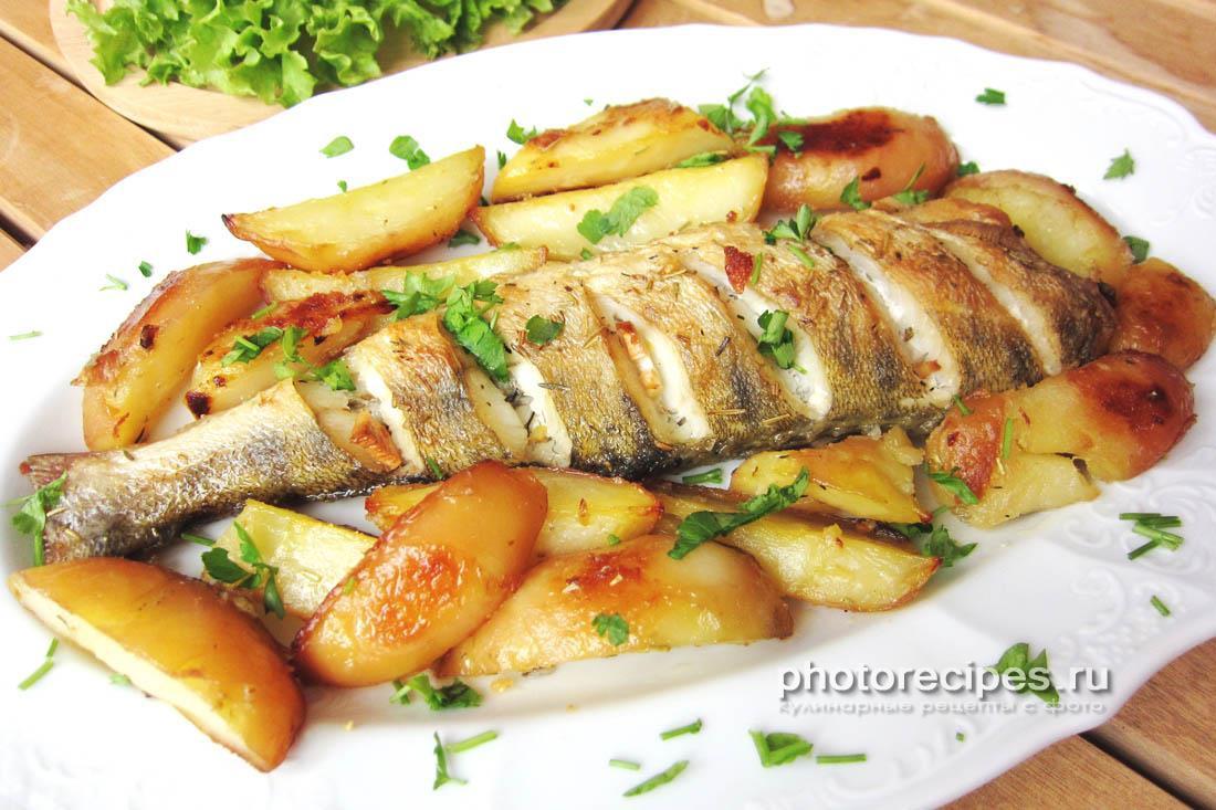 судак с картофелем