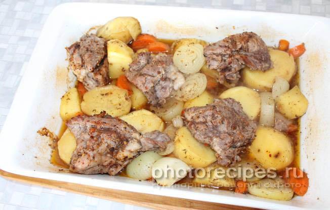 Рецепт приготовления баранины с картошкой в духовке рецепт